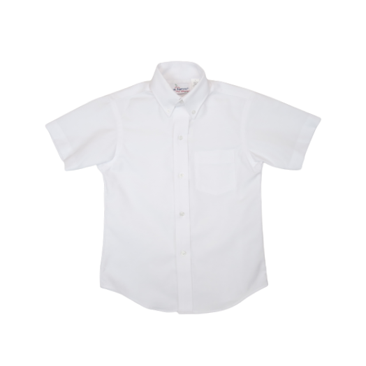 Male Short Sleeve White Oxford Shirt