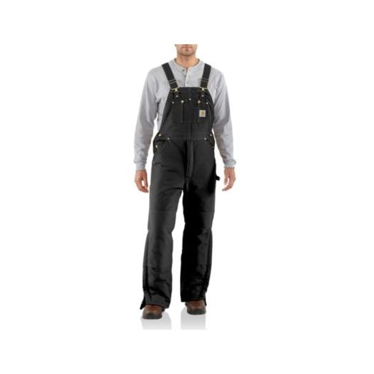 R03 Carhartt Arctic Quilt Lined Duck Bib Overall in Black