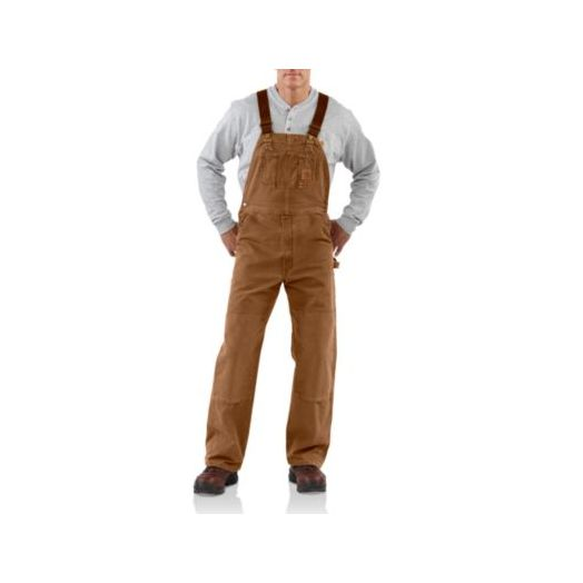 R06 Carhartt Unlined Sandstone Bib Overall in Brown
