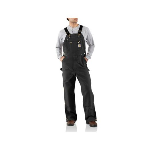 R37 Carhartt Unlined Duck Zip-To-Thigh Bib Overall in Black